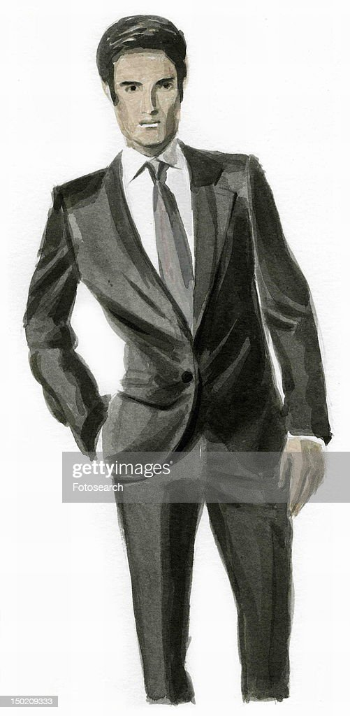 Man dressed up in a suit : Stock Illustration