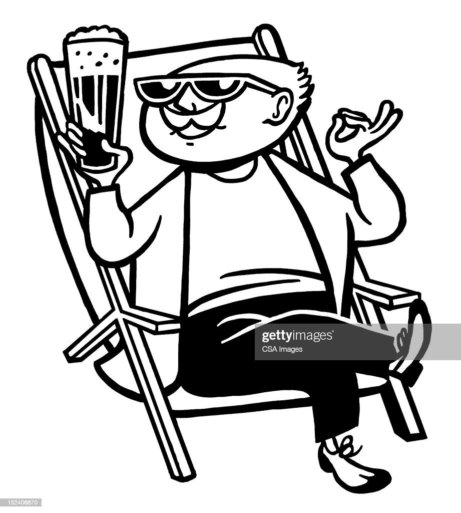 Man Drinking Cocktail Sitting in Chair : Stock Illustration