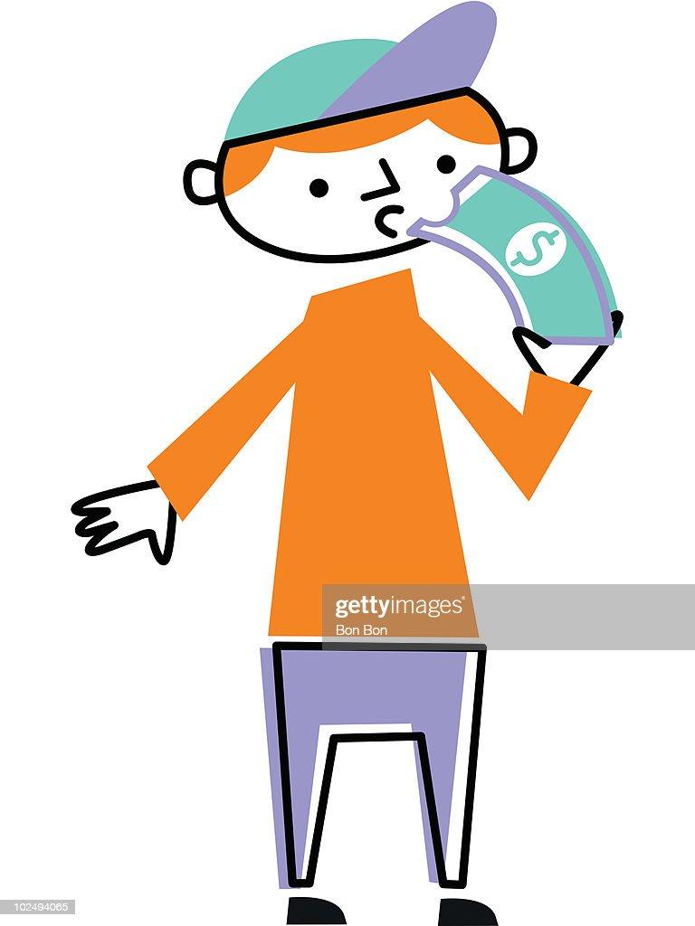 Man eating dollar bill : Stock Illustration
