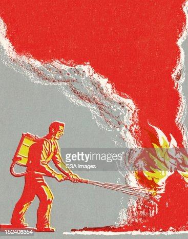 Man Fighting Fire : Stock Illustration
