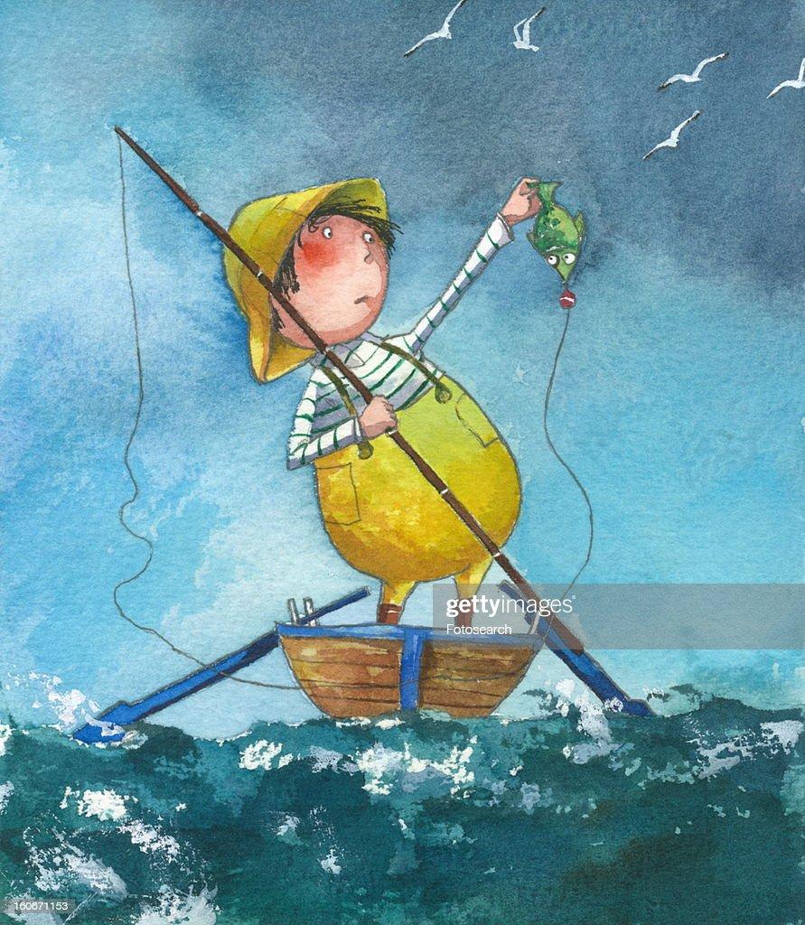 Man fishing : Stock Illustration