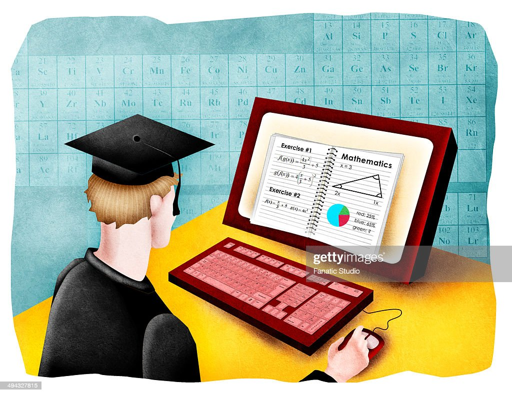 Man giving online exam : Stock Illustration