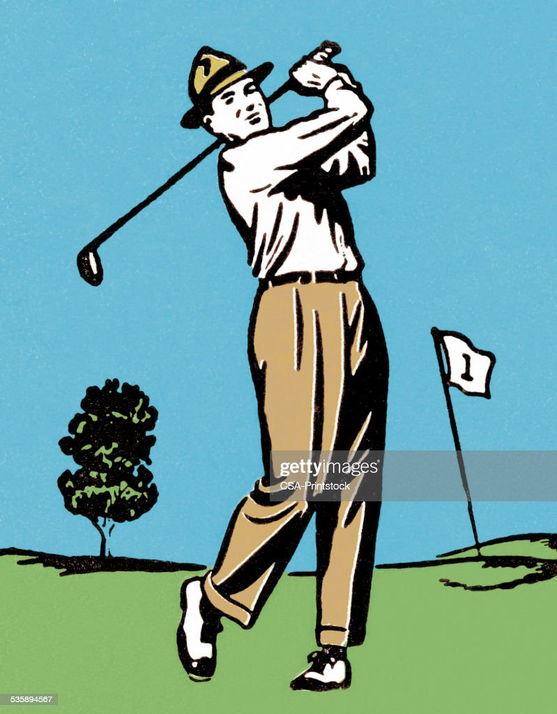 Man Golfing : Stockillustraties