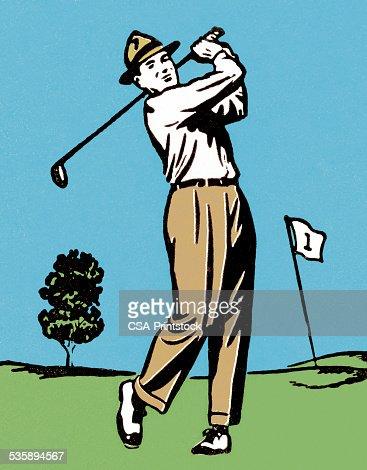 Mann Golf : Stock-Illustration
