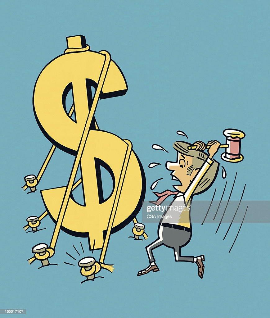 Man Hammering a Dollar Sign : Stock Illustration