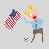 Man holding a flag of EEUU.  Isolate. Easy automatic vectorization. Easy background remove. Easy color change. Easy combine. 4000x4000 - 300DPI For custom illustration contact me.