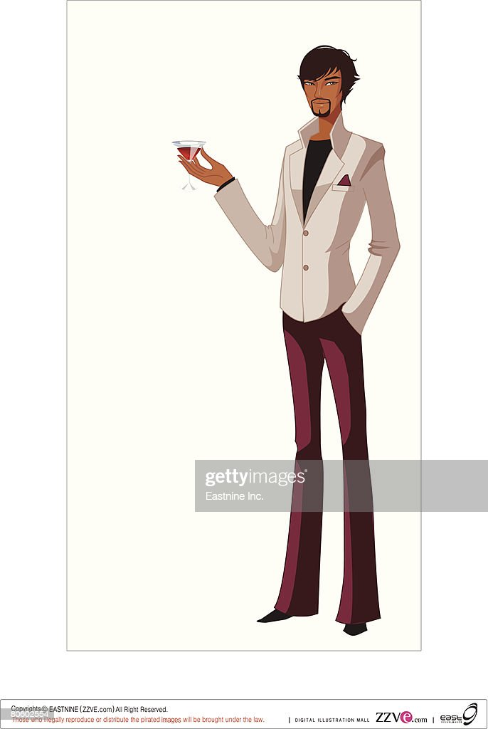 Man holding a glass of martini : Vector Art