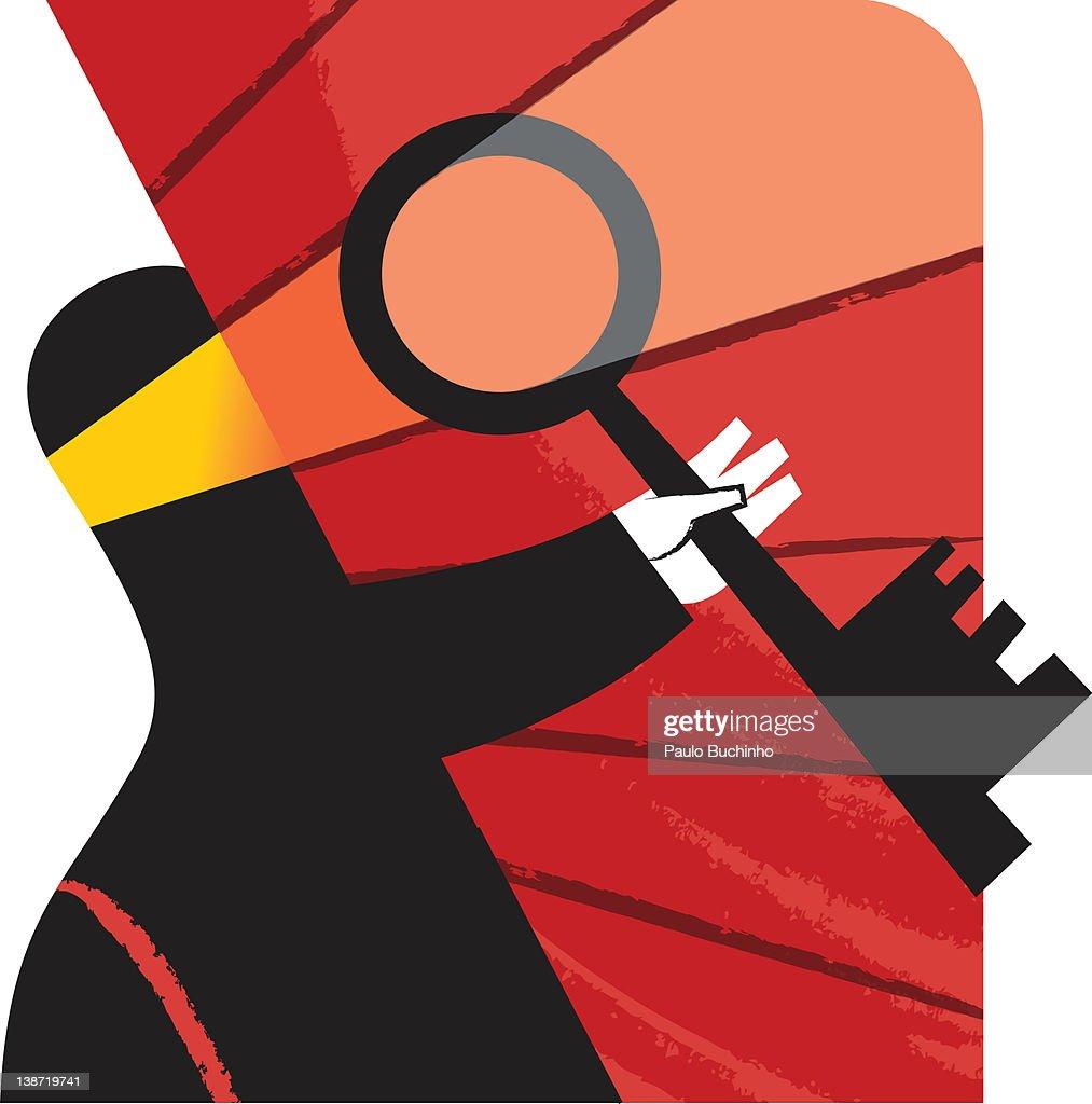 A man holding a key : Stock Illustration