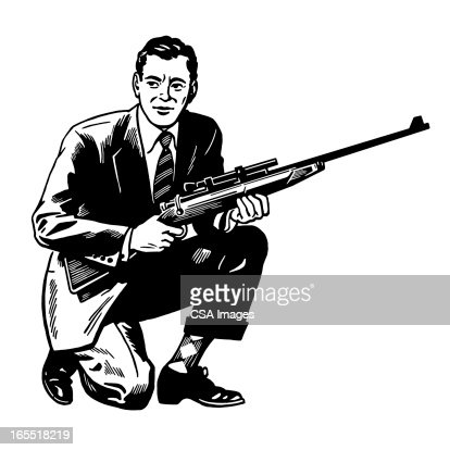 Man Holding a Rifle : Stock Illustration