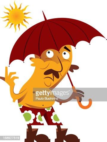 A man holding an umbrella under the sun : Stock Illustration