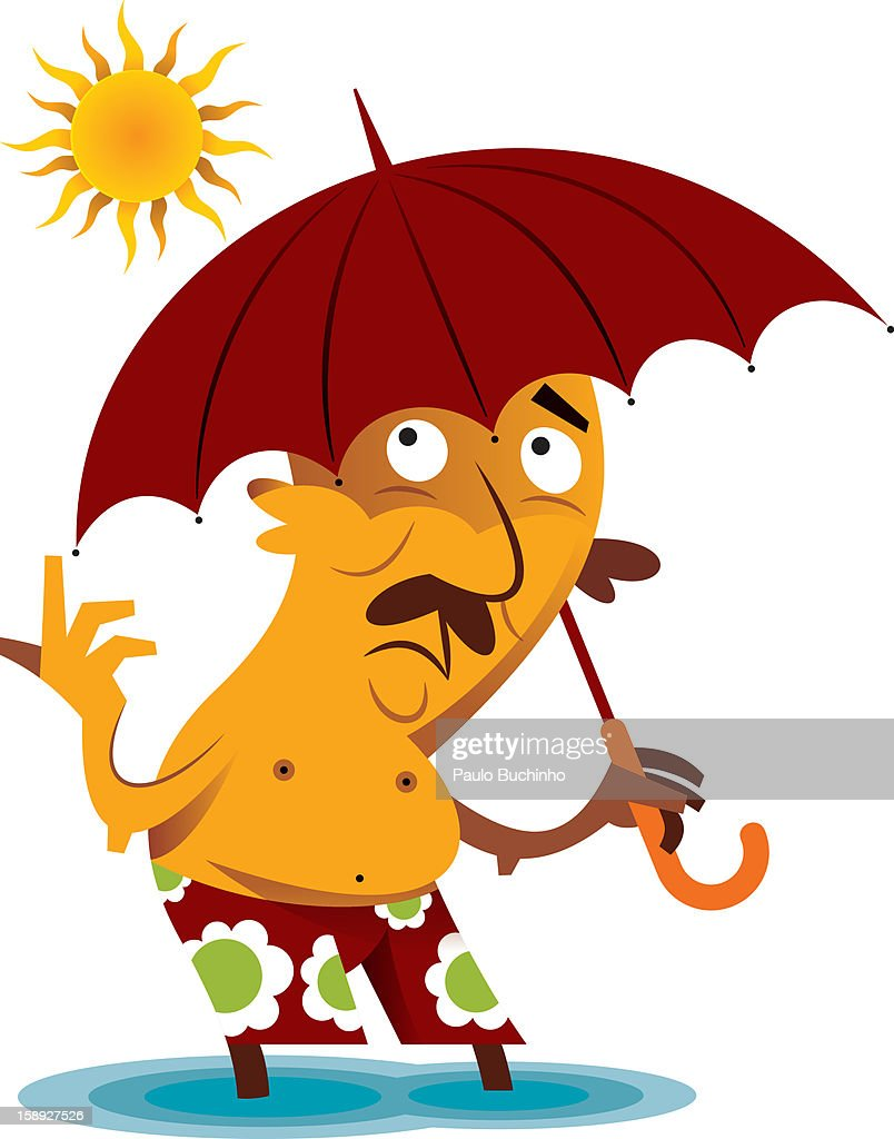 A man holding an umbrella while in the sun : Stock Illustration