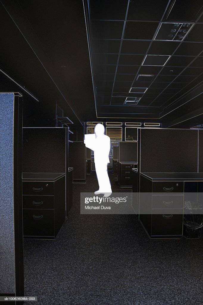 Man holding file in office : Stock Illustration
