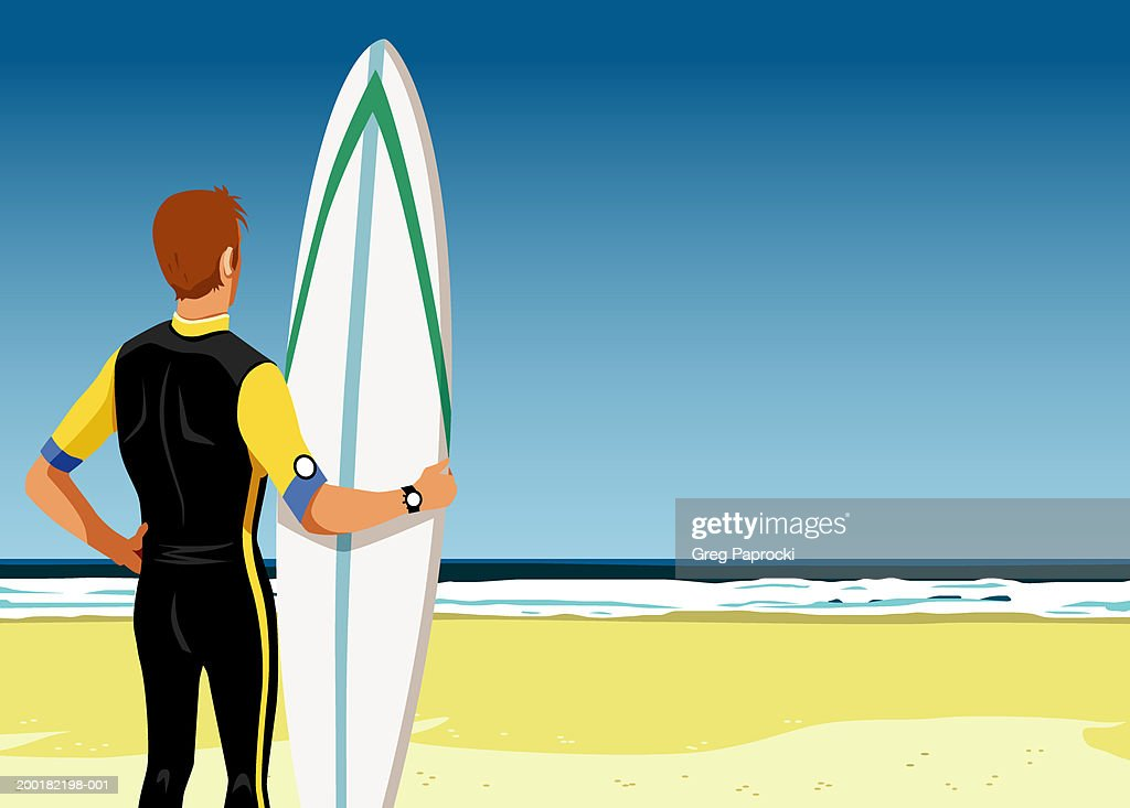 Man holding surfboard, standing on beach, rear view : Stock Illustration