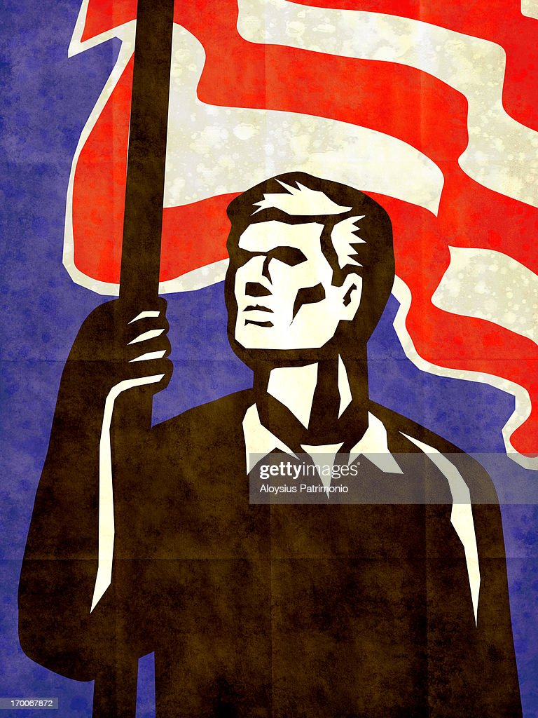 A man holding the American flag : Stock Illustration