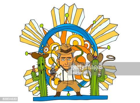 Man holding whip and gun : Stock Illustration