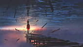 surreal scenery of upside-down world with a man on the old bridge looking at sunset light in the sea above the sky, digital art style, illustration painting