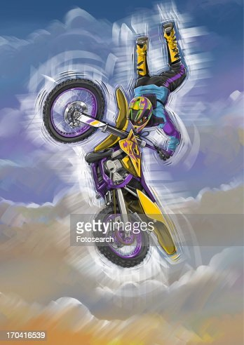 Man jumping through the air with his motorbike : Stock Illustration