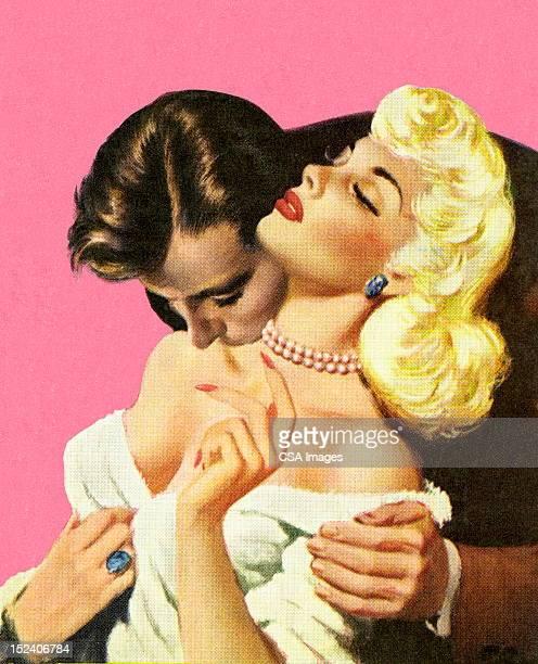Man Kissing Blonde Woman