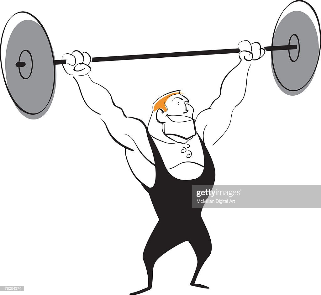 Man lifting barbell above head : Stock Illustration