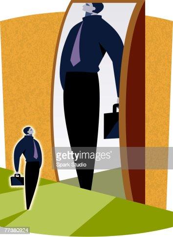 A man looking at his reflection : Stock Illustration
