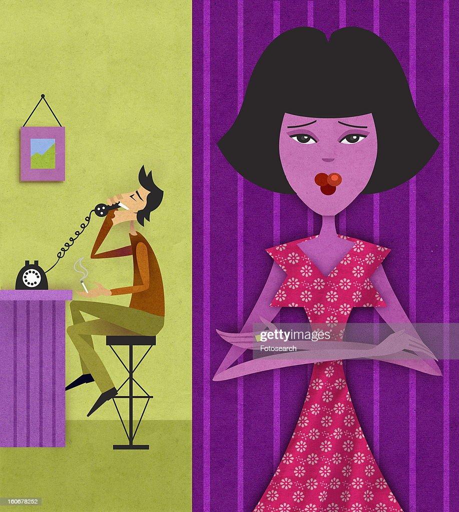 Man on phone, woman upset : Stock Illustration