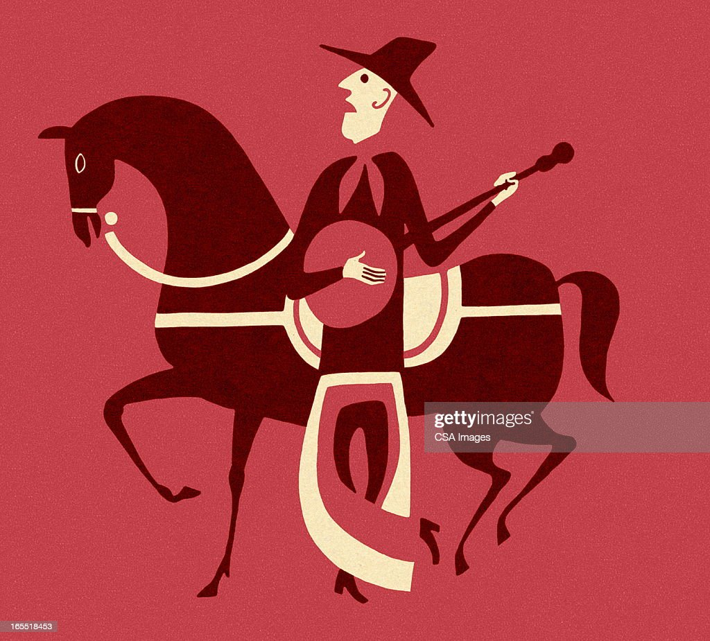 Man Playing a Banjo in Front of a Horse : Stock Illustration