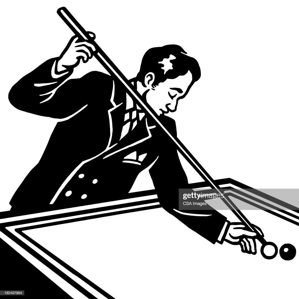 Man Playing Billards : Stock Illustration