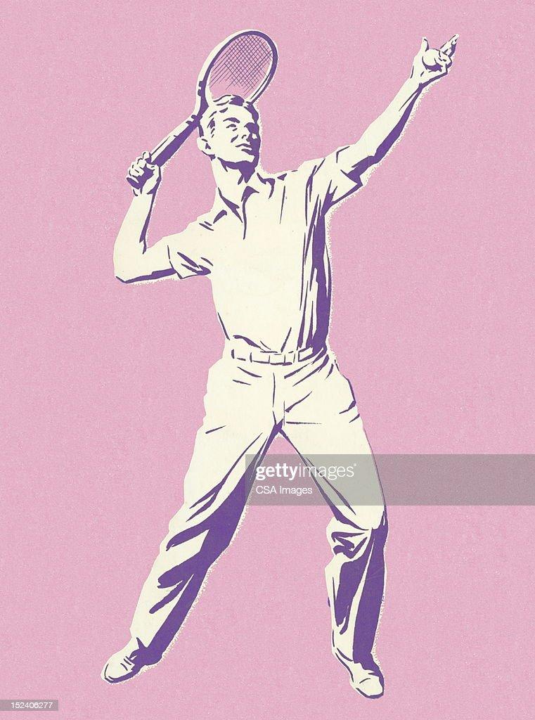 Man Playing Tennis : Stock Illustration
