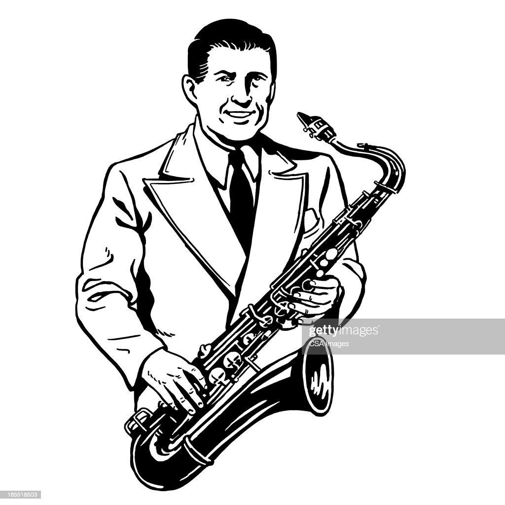 Man Playing the Saxophone : Stock Illustration