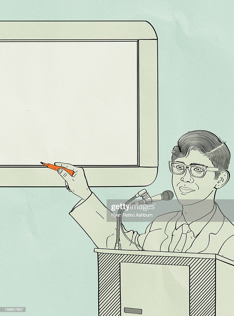 A man pointing to a wipe board as he is giving a presentation : Stock Illustration