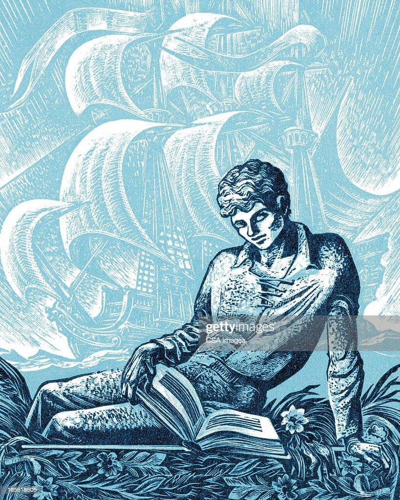 Man Reading a Book : Stock Illustration