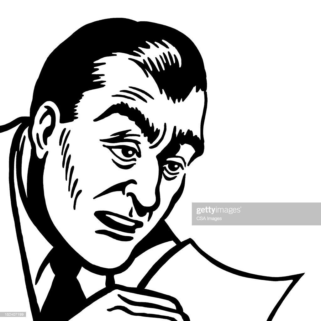 Man Reading A Piece of Paper : Stock Illustration