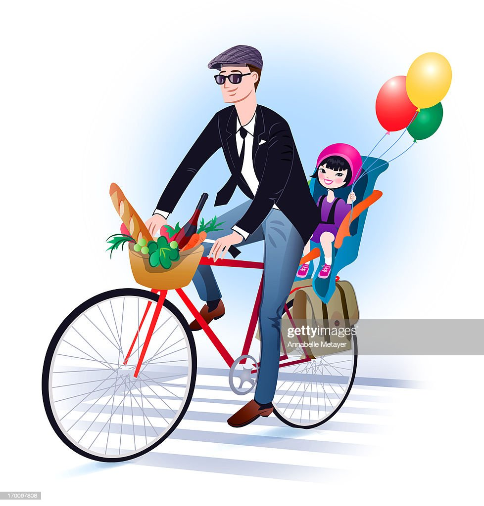 A man riding a bicycle with his daughter in the back seat holding balloons : Stock Illustration