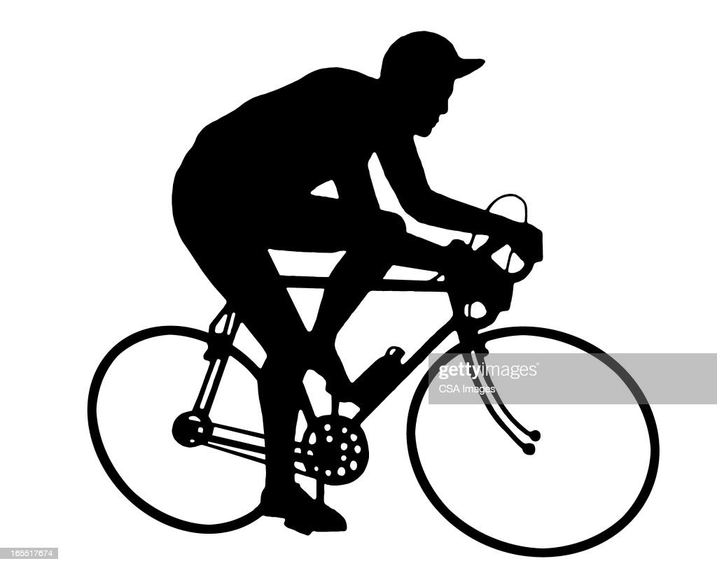 Man Riding a Bike : Stock Illustration