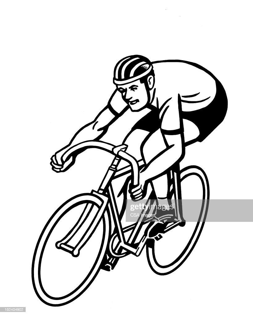 Man Riding Bicycle : Stock Illustration