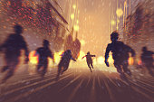 man runing away from zombies,burning city in background,illustration,digital painting