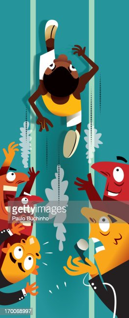 A man running in a race with onlookers on the side : Stock Illustration