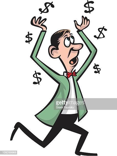 A man running with dollar signs around him