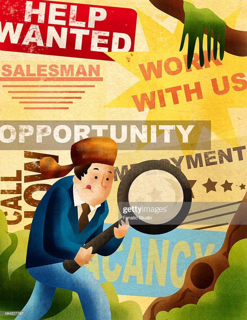 Man searching job with holding magnifying glass : Stock Illustration