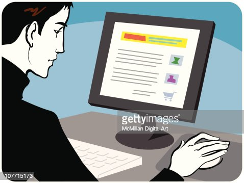 Man shopping online : Vector Art