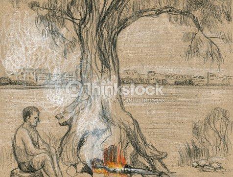Uomo Seduto Al Camino Disegno A Matita Illustrazione Stock Thinkstock
