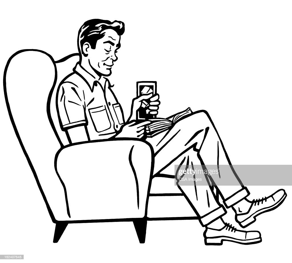 Man sitting in chair drawing - Man Sitting In Chair And Reading Stock Illustration