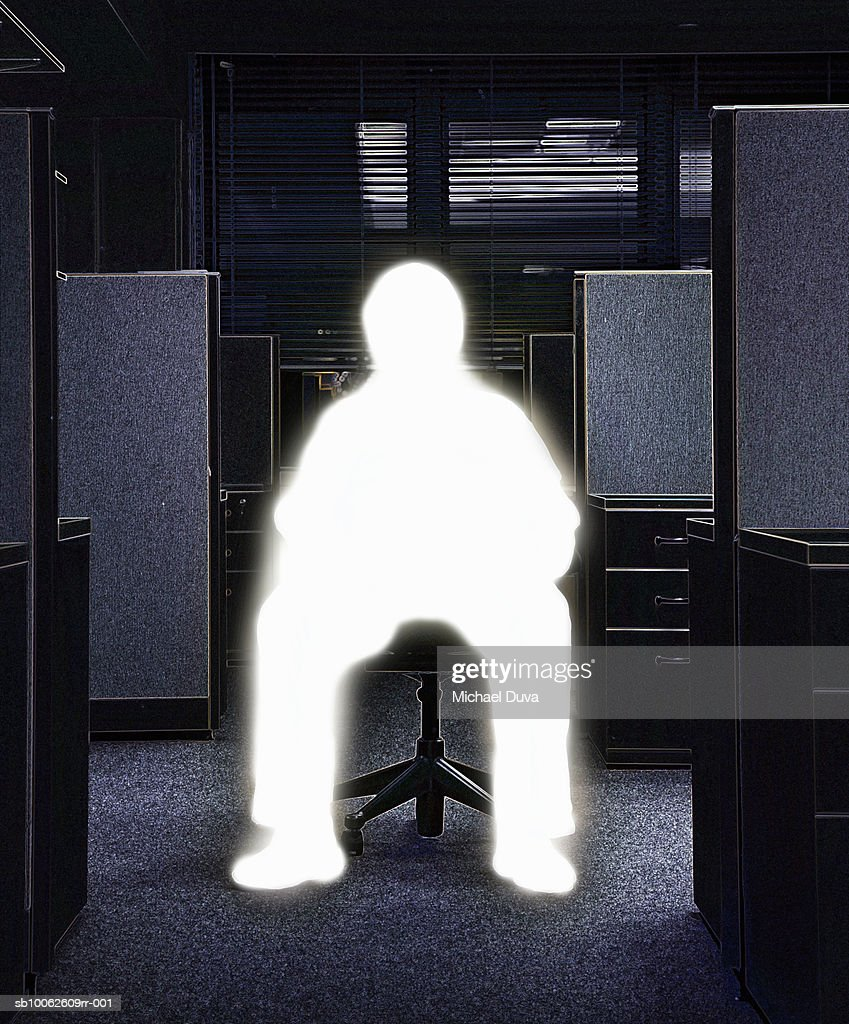 Man sitting on chair in office : Stock Illustration