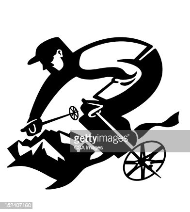 Man Skiing : Stock Illustration