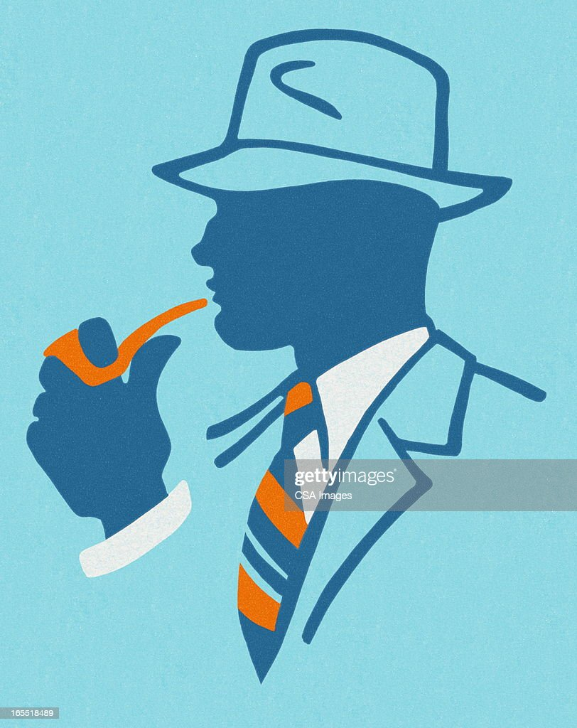 Man Smoking a Pipe : Stock Illustration