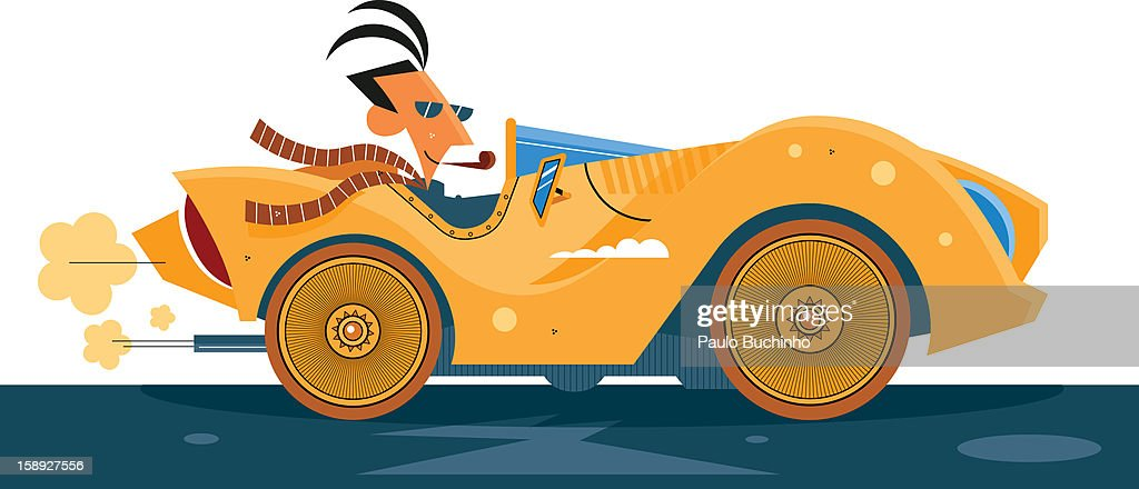 A man smoking from a cigar pipe while driving : Stock Illustration