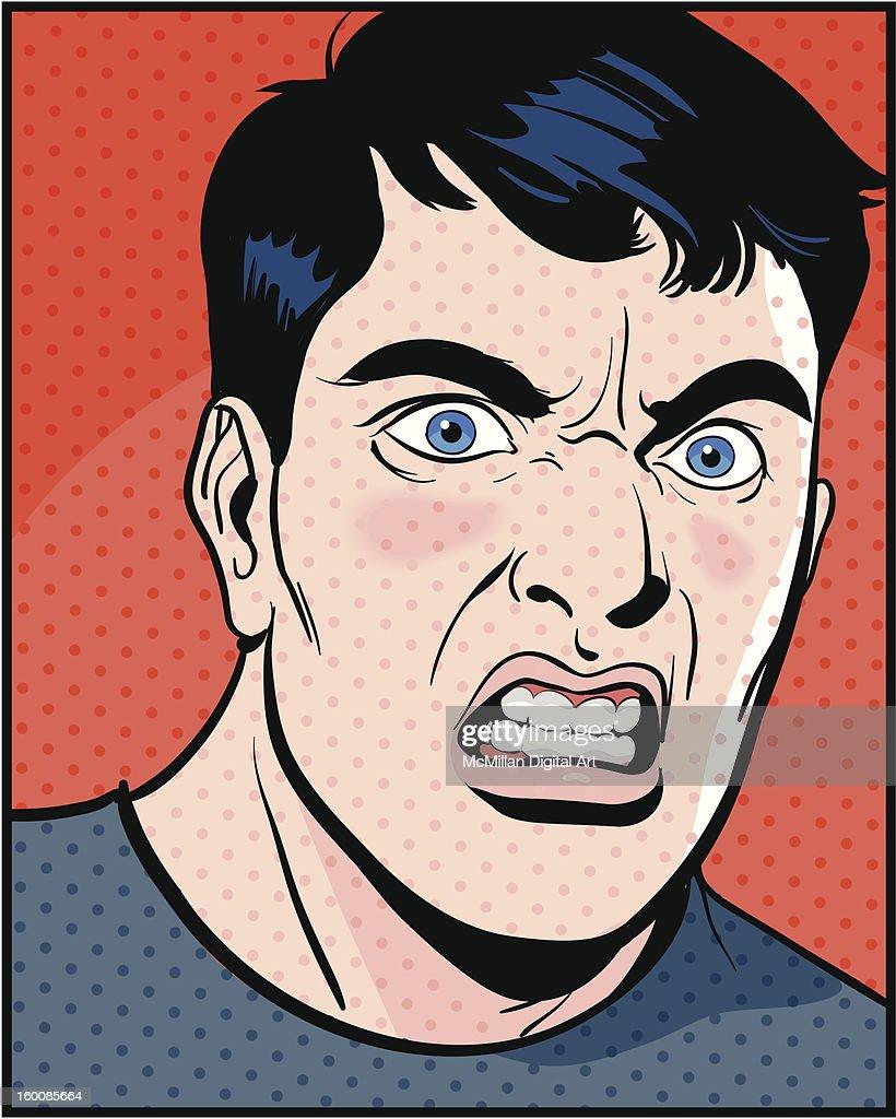 Man sneering : Vector Art