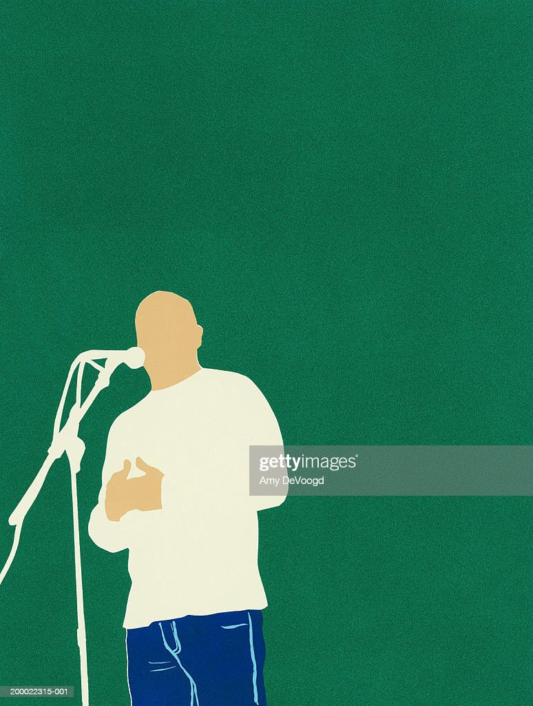 Man speaking into microphone, low angle view : Stock Illustration