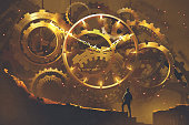 man standing in front of the big golden clockwork, illustration painting