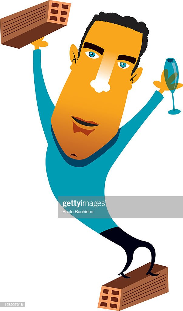A man standing on a crate while holding a wine glass : Stock Illustration